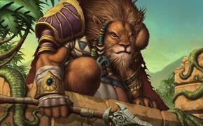 La photo, le lion, l'armure, la lance, la jungle